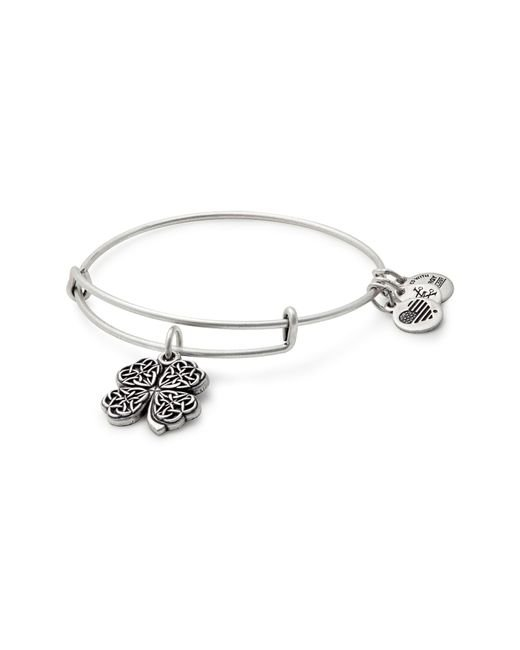 ALEX AND ANI - Metallic Four-leaf Clover Adjustable Wire Bangle - Lyst