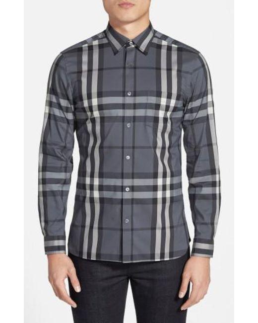 Burberry   Gray Nelson Check Sport Shirt for Men   Lyst
