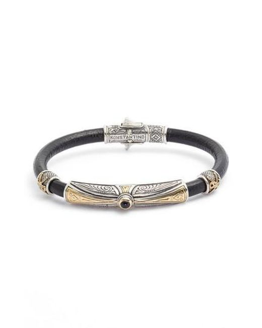 Konstantino - Metallic Stavros Leather Bracelet With Onyx for Men - Lyst
