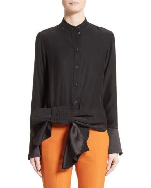 Victoria, Victoria Beckham   Black Asymmetrical Bow Tuxedo Shirt   Lyst