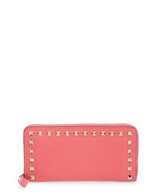 Valentino - Pink Rockstud Zip Around Leather Continental Wallet - Lyst