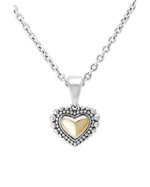 Lagos - Metallic Two-tone Heart Pendant Necklace - Lyst