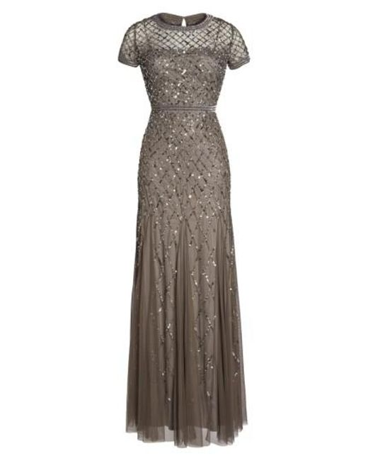 Adrianna Papell | Gray Beaded Mesh Gown | Lyst