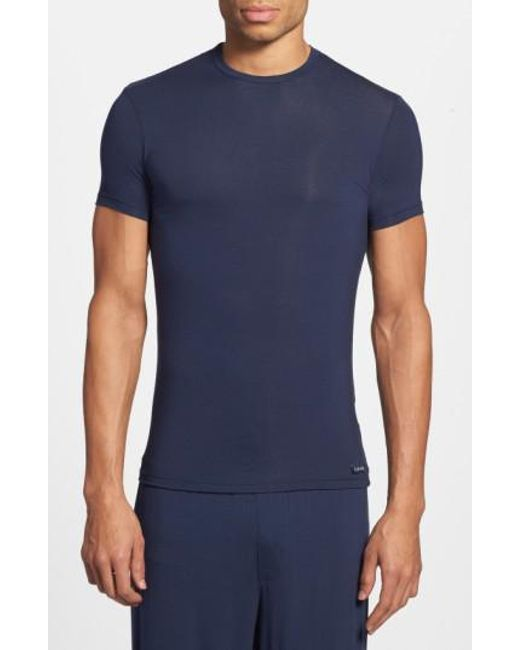 Calvin Klein | Blue 'u5551' Modal Blend Crewneck T-shirt for Men | Lyst