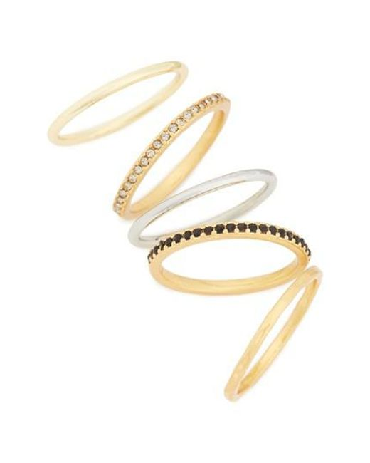 Madewell | Metallic Set Of 5 Filament Stackable Rings | Lyst