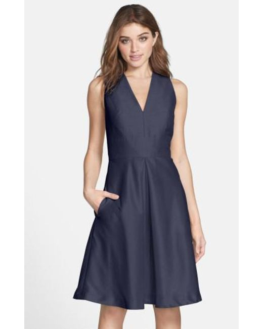 Alfred Sung | Blue V-neck Dupioni Cocktail Dress | Lyst