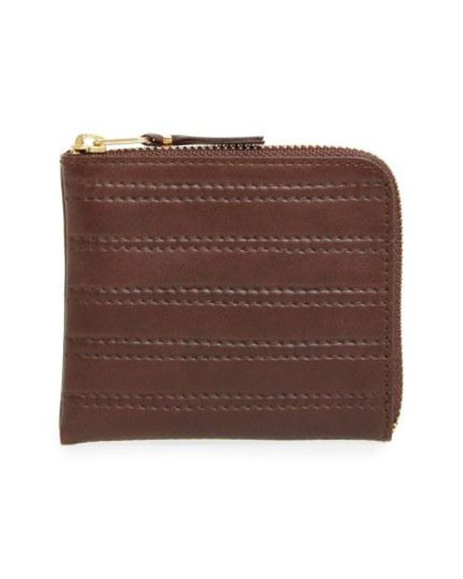 Comme des Garçons - Brown 'embossed Stitch' Leather Half Zip French Wallet for Men - Lyst