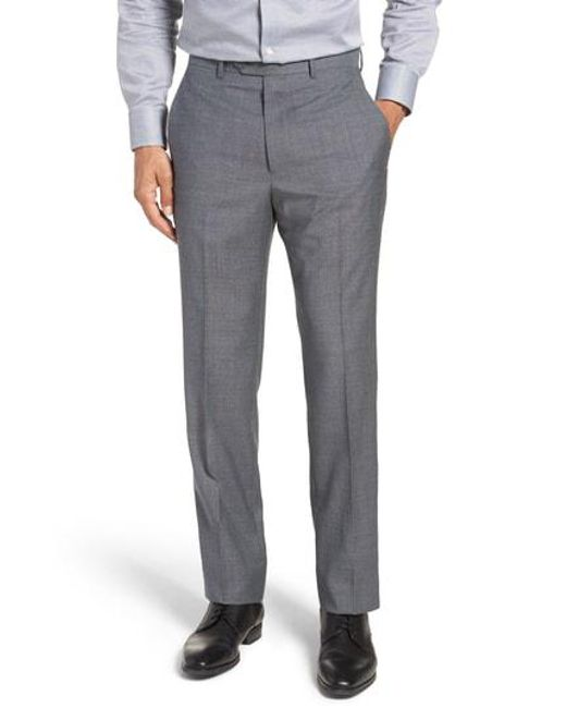 Santorelli - Gray Flat Front Solid Wool Trousers for Men - Lyst
