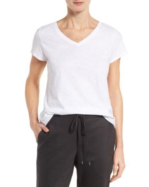 Eileen Fisher   White Organic Cotton V-neck Tee   Lyst