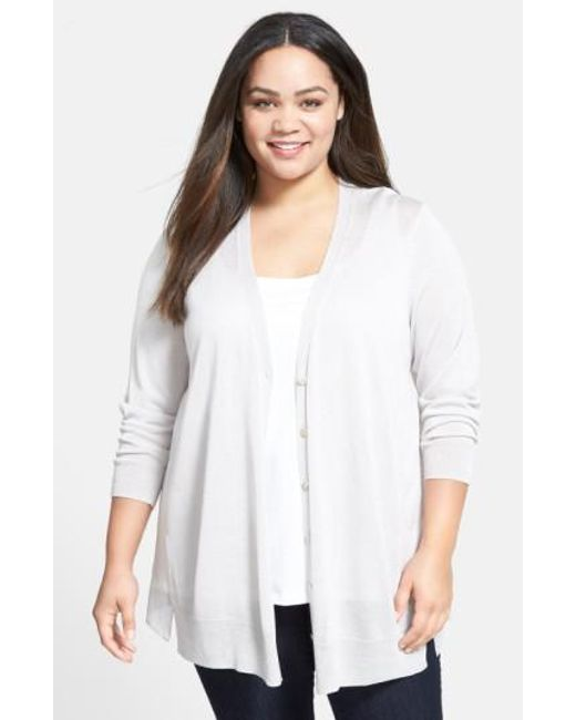 NIC+ZOE | Natural Chiffon Back Cardigan | Lyst
