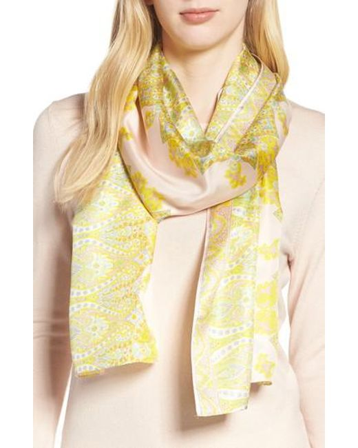 Echo - Yellow Sea Fan Paisley Silk Scarf - Lyst
