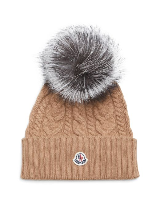 2b089d6b8 Lyst - Moncler Cable Knit Beanie With Genuine Fox Fur Pom in Gray