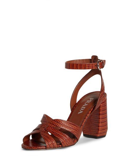 Prada Black Lizard Embossed Ankle Strap Sandal