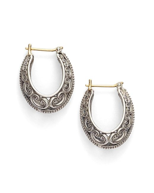 Konstantino - Metallic 'penelope' Filigree Hoop Earrings - Lyst