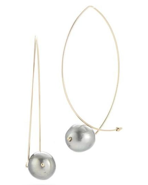Mizuki 14k Black Pearl Hoop Earrings sbP9KjqPrF
