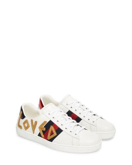 Gucci - White Ace Embroidered Sneaker - Lyst