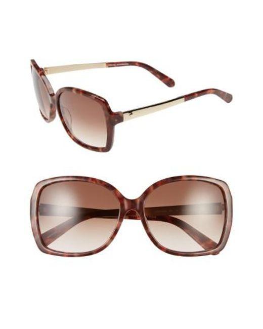 Kate Spade | Pink 'darrilyn' 58mm Butterfly Sunglasses - Blush Tortoise | Lyst