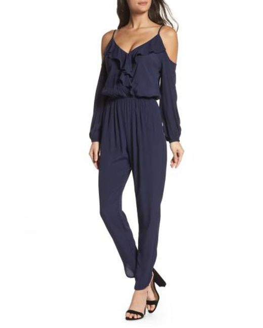 Fraiche By J - Blue Cold Shoulder Jumpsuit - Lyst