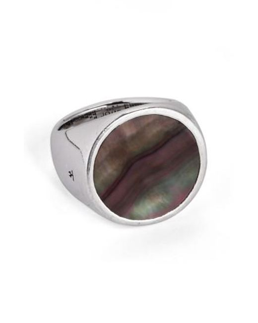 Tom Wood | Flush Black Mother Of Pearl Signet Ring (nordstrom Exclusive) | Lyst