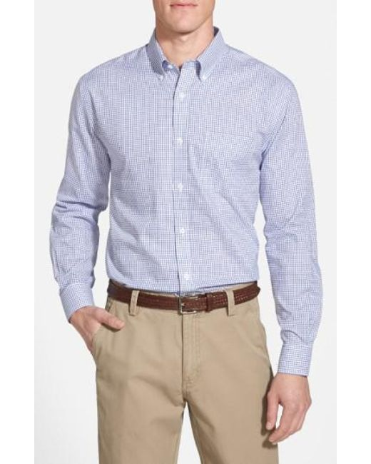Cutter & Buck | Blue 'epic Easy Care' Classic Fit Wrinkle Free Tattersall Plaid Sport Shirt for Men | Lyst