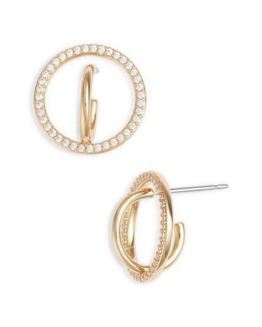 Nadri - Metallic Cubic Zirconia Hoop Earrings - Lyst
