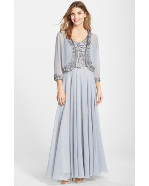 Lyst - J Kara Beaded Chiffon Gown With Jacket in Gray