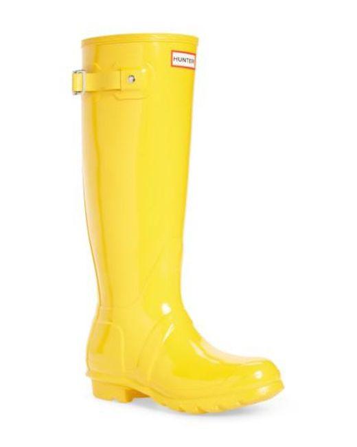 Hunter - Wellington - Yellow Rubber Rain Boot - Lyst