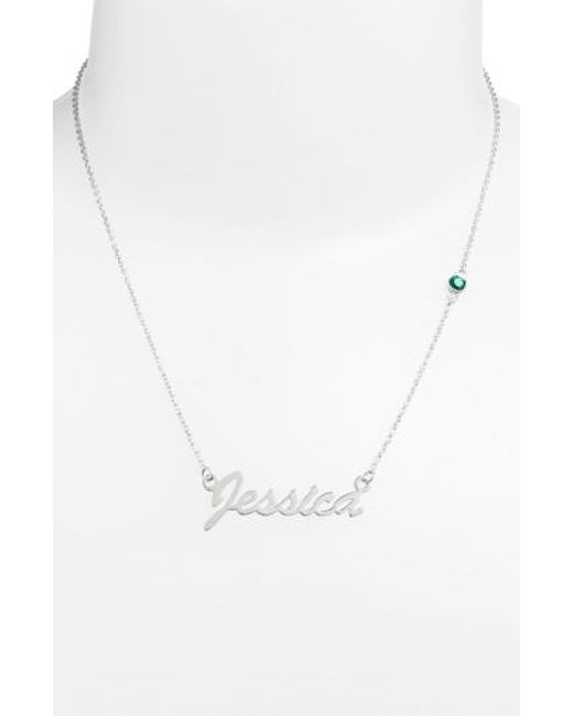Argento Vivo - Green Birthstone & Personalized Nameplate Pendant Necklace (nordstrom Online Exclusive) - Lyst