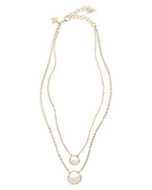 Panacea - White Crystal Circle Double Chain Necklace - Lyst