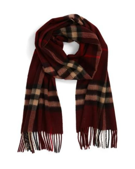 Burberry - Purple Heritage Check Cashmere Scarf for Men - Lyst