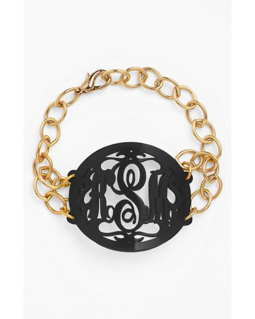 Moon & Lola - Black 'annabel' Large Oval Personalized Monogram Bracelet (nordstrom Exclusive) - Lyst