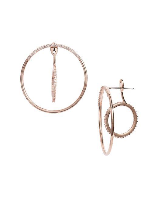 Nadri - Metallic Intersecting Hoop Ear Jackets - Lyst