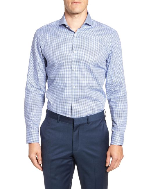 BOSS - Blue Mark Sharp Fit Check Dress Shirt for Men - Lyst