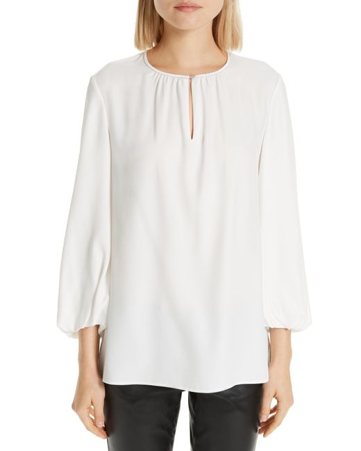 48f27ae1e938b Lyst - Lafayette 148 New York Prunella Silk Blouse in White - Save 60%