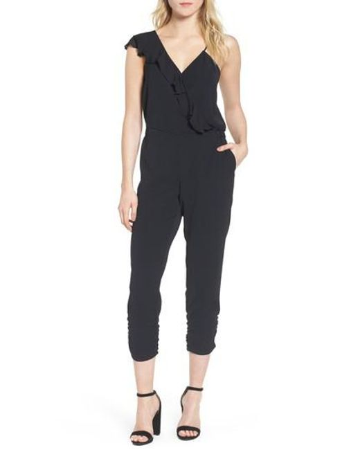 Parker - Black Addison Asymmetrical Jumpsuit - Lyst