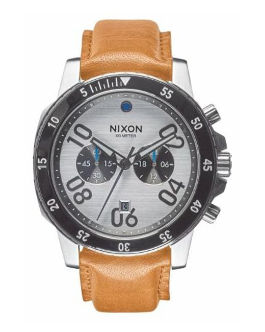 Nixon | Brown 'the Ranger' Chronograph Leather Strap Watch for Men | Lyst