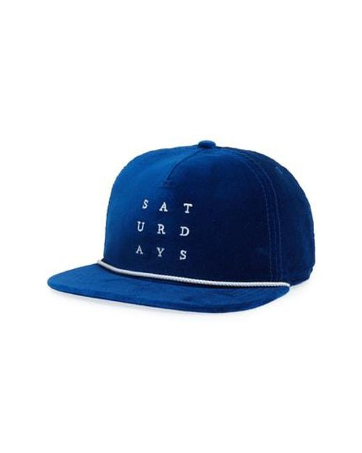 Saturdays NYC - Blue Stanley Snapback Baseball Cap for Men - Lyst