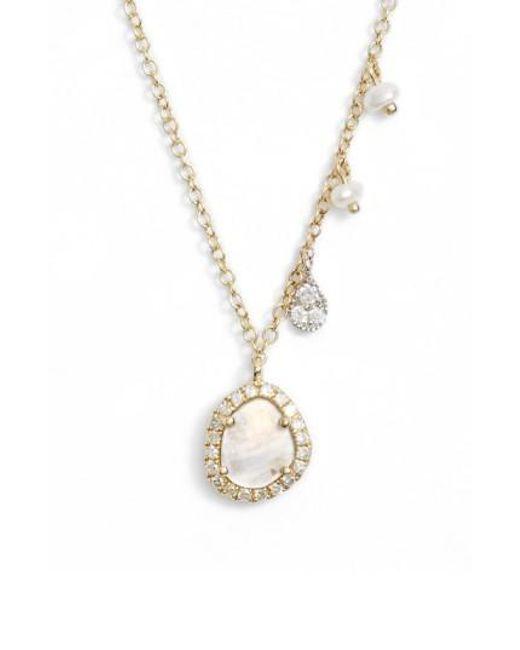 Lyst meira t meirat mini stone diamond pendant necklace in metallic meira t metallic meirat mini stone diamond pendant necklace lyst aloadofball Images