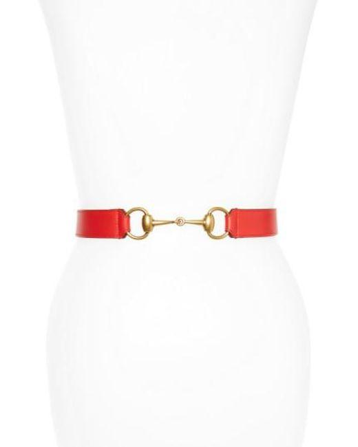 Gucci - Red Horsebit Calfskin Leather Belt - Lyst