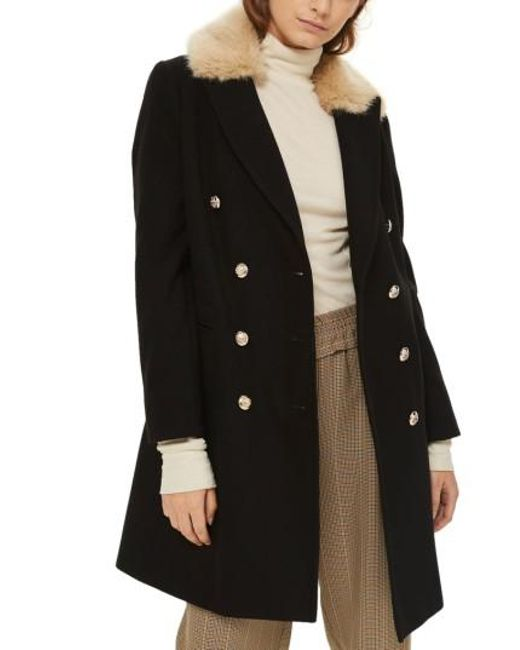 TOPSHOP | Black Nina Faux Fur Collar Double Breasted Coat | Lyst