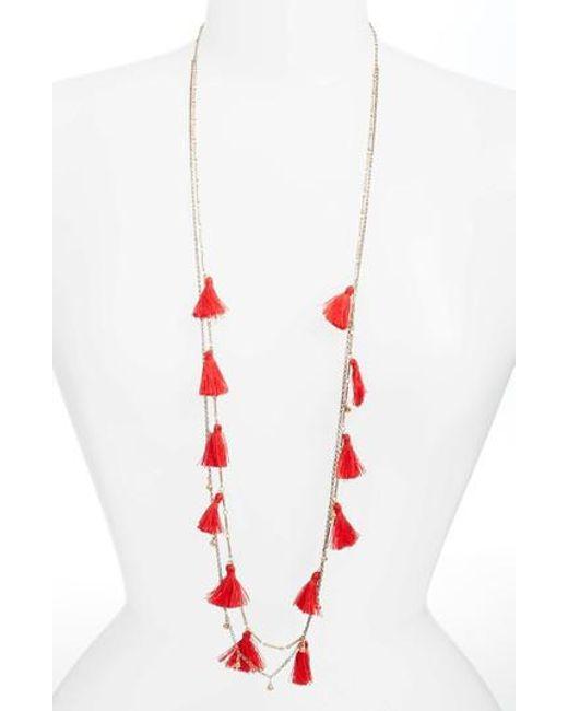 Serefina - Red Long Tassel Necklace - Lyst