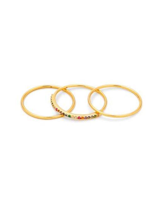 Gorjana   Metallic Shimmer Stackable Set Of 3 Band Rings   Lyst