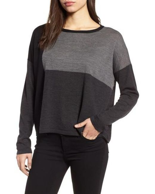 Eileen Fisher | Gray Colorblock Boxy Merino Wool Sweater | Lyst
