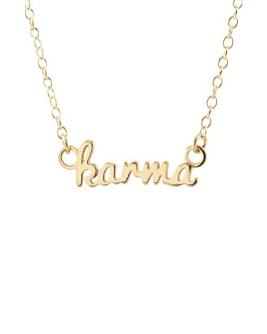Kris Nations - Metallic Karma Script Necklace - Lyst