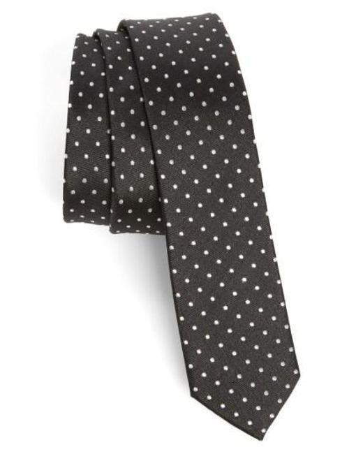 The Kooples   Black Dot Skinny Silk Tie for Men   Lyst