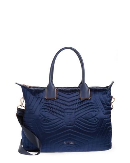 Ted Baker - Blue Quilted Bow Large Nylon Tote - Lyst