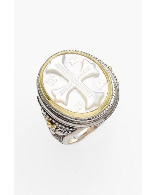Konstantino | Metallic 'athena' Mother Of Pearl Signet Ring | Lyst