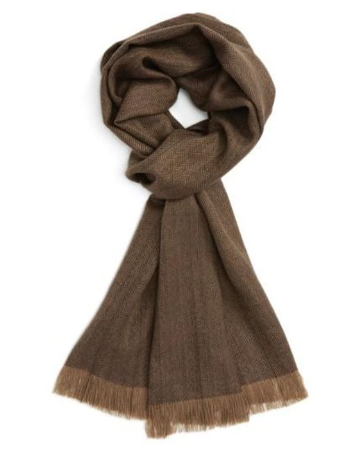 Polo Ralph Lauren | Brown Wool Fringe Scarf for Men | Lyst
