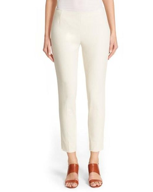 Lafayette 148 New York | White 'stanton' Slim Leg Ankle Pants | Lyst