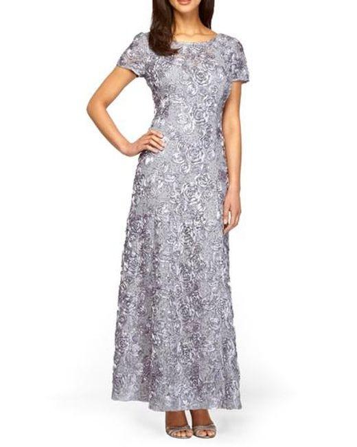 Alex Evenings | Black Sequin & Soutache Lace Gown | Lyst
